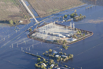 Kerang power station surrounded by water